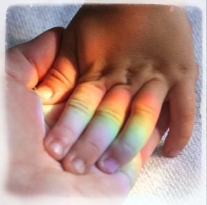 baby rainbow fingers