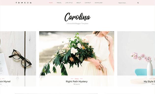 Tema Blogspot Carolina 2018 para blog Pessoal