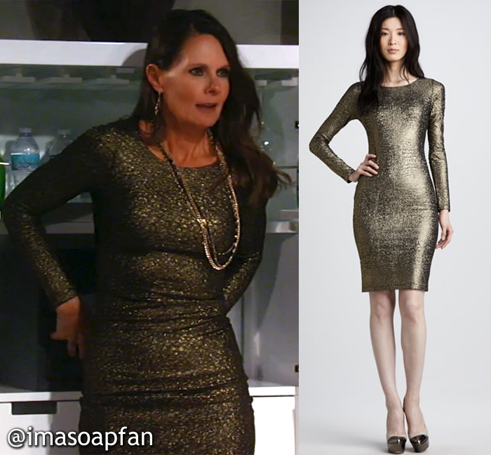 Lucy Coe, Lynn Herring, General Hospital, GH, Gold Dress with Mesh Back