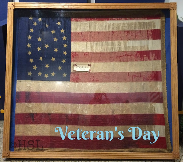 Veteran's Day tribute, Colored troops flags, thankfulness