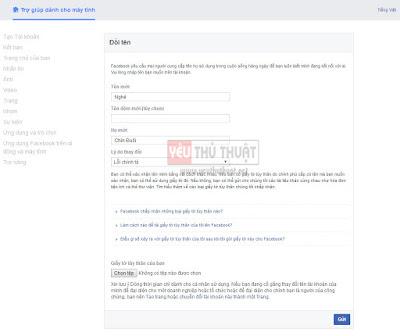 Cách đổi tên facebook ma new 2017 version 2