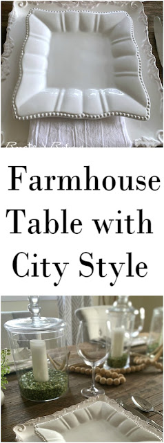 Setting your dining table quickly and easily with farmhouse style and city flair #farmhouse #Tablescape #entertaining #partyideas #rustic