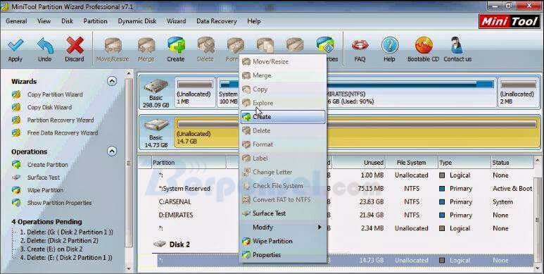 Cara Partisi SD Card dengan minitool partition wizard