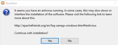 Anti virus sedang berjalan pada saat mengisntall XAMPP