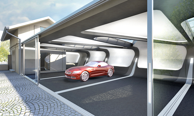 Desain Model Garasi Rumah Minimalis Dengan Arsitektur Futuristik