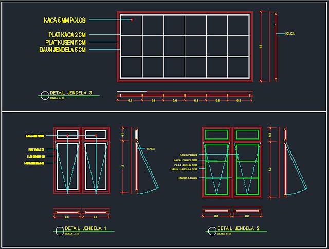 Detail Jendela Swing 1 - Contoh Gambar AutoCAD