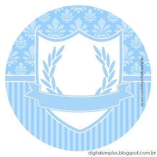 Corona en Celeste y Arabescos: Wrappers y Toppers para Imprimir Gratis