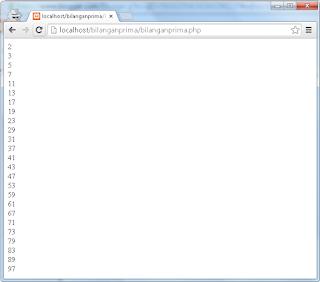 menampilkan bilangan prima dengan perulangan php arifweb