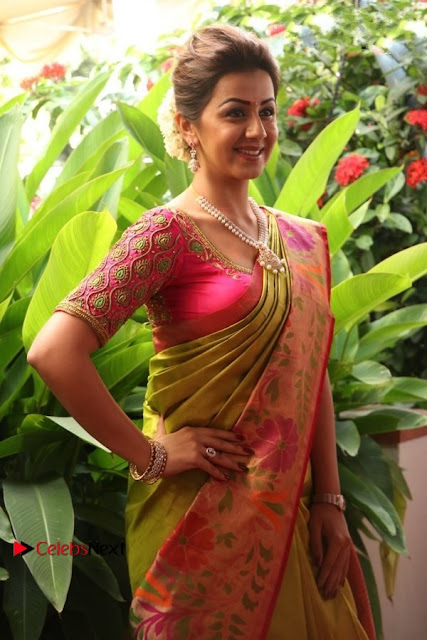 Actress Nikki Galrani Latest Pos in Saree Neruppu Da Movie Audio Launch  0020.jpg