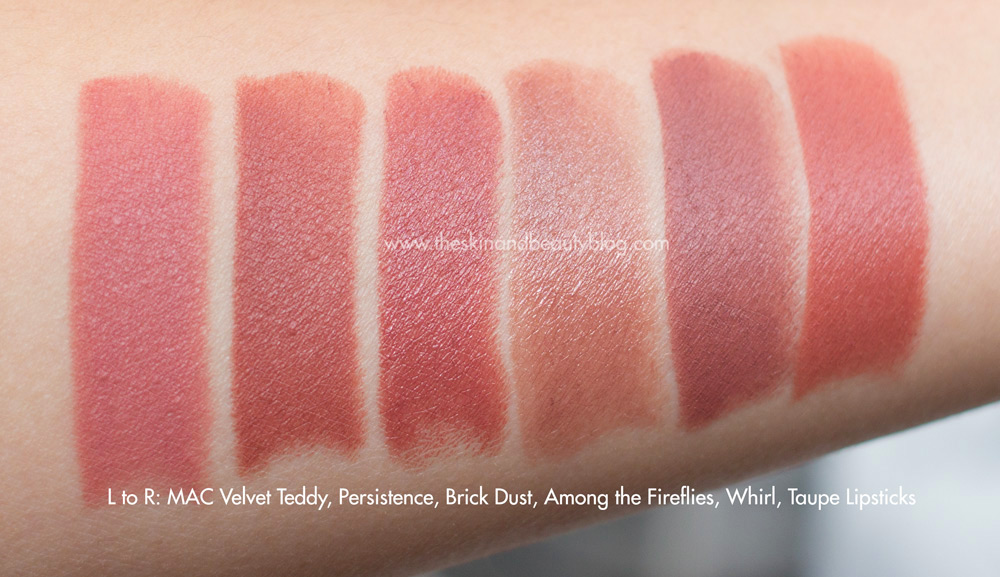 MAC Velvet Teddy, Persistence, Brick Dust, Among the Fireflies, Whirl, Taupe Lipsticks Swatches NC30