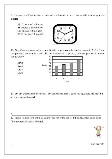 Avaliação Diagnóstica de Matemática 4 ano