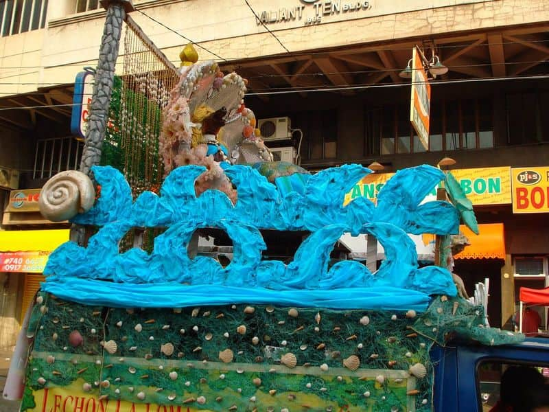 Under the sea-themed float at the La Loma Lechon Festival