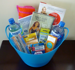 gift basket, wellness, mindset, pedometer, workout dvd, strength training, weight loss, health