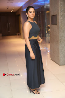 Actress Regina Candra Stills in Beautiful Blue Long Dress at Nagaram Success Meet  0170.JPG