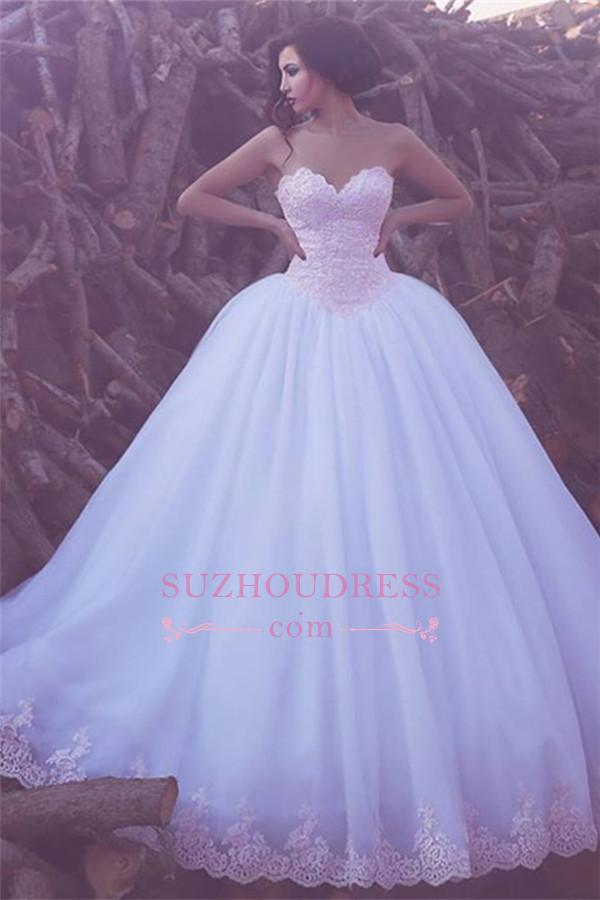 Elegant Puffy Tulle Lace Bridal Dresses 2018 Appliques Sweetheart Ball Gown Wedding Dresses