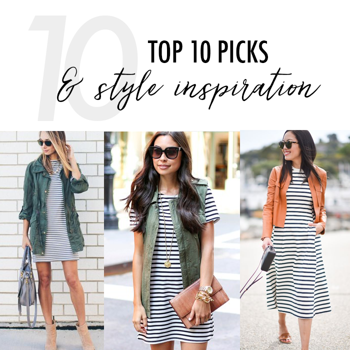 striped dress with cargo vest style
