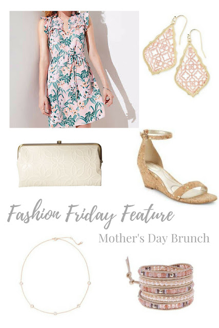 This beautiful outfit for Mother's Day brunch is perfect for a lovely spring day.  The pops of pink and green in the dress and jewelry as well as neutral shoes and clutch are on trend for the season | www.livingyoungandhealthy.com