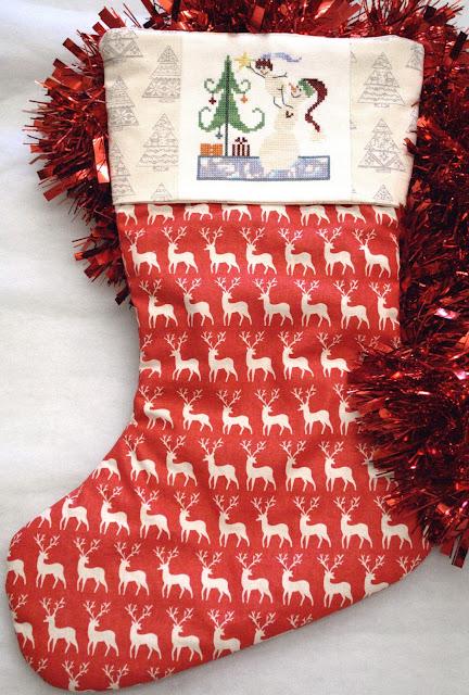 Cross Stitch Christmas Stocking Finish, Handmade Christmas Stocking, SamSarah Designs, Just Cross Stitch Ornament,