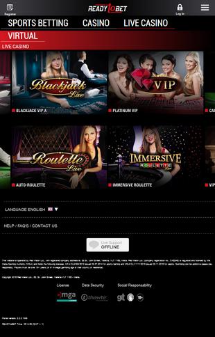 Readytobet Live Casino Screen