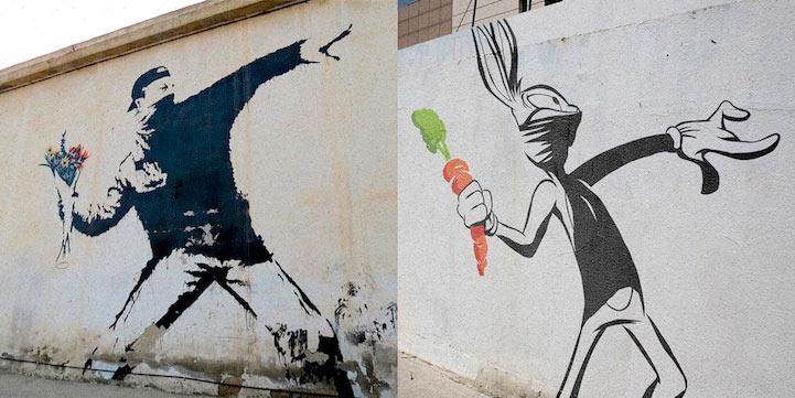 Iconico arte de Banksy son parodiados con protagonistas famosos de dibujos motivados