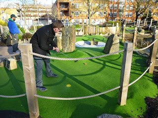 Playing minigolf at Putt in the Park, Wandsworth, London