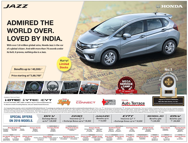 Honda Jazz car with benefits up to Rs 40,000 | January 2017 festival offers