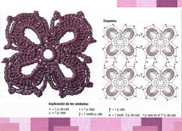 Top jersey corto con flores de ganchillo