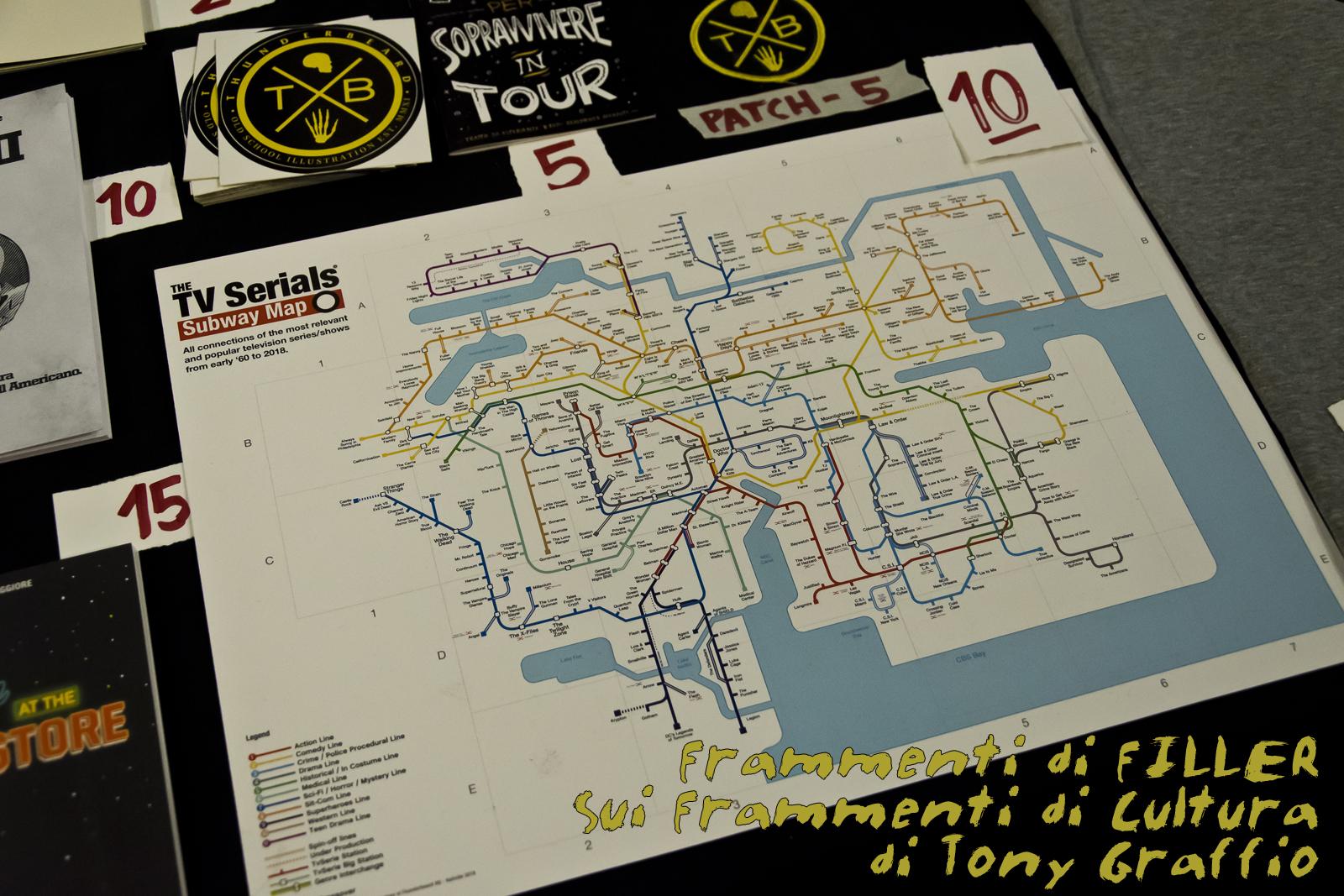 La mappa della metropolitana della città delle serie TV ideata da Dario Maggiore dei Thunderbeard.