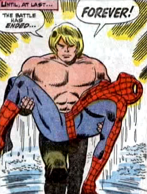 Amazing Spider-Man #57, don heck, john romita, ka-zar emerges from the lake, holding the seemingly dead spider-man