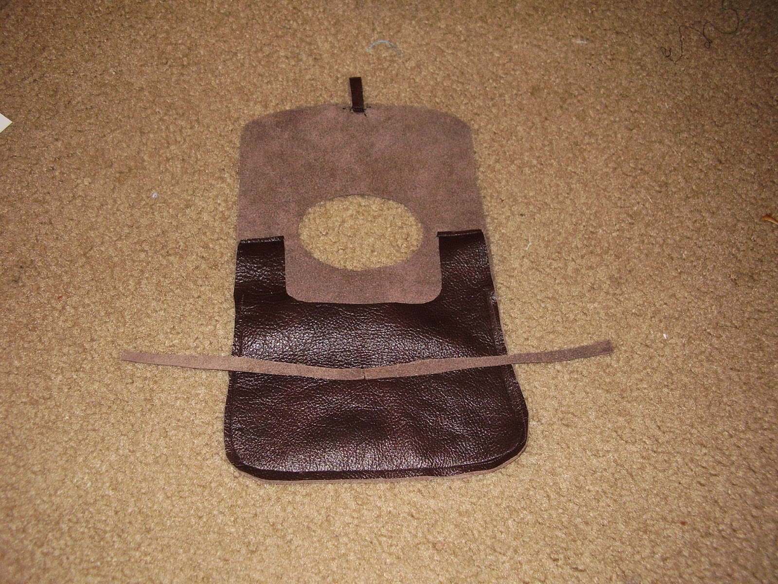 Finished medieval belt pouch, open.