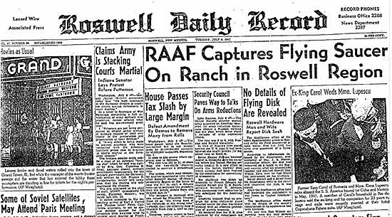 Roswell Daily Record - Divulgação da RAAF sobre o caso Rosswell