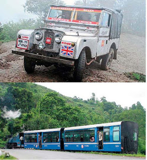 Darjeeling iconic land rover and toy train
