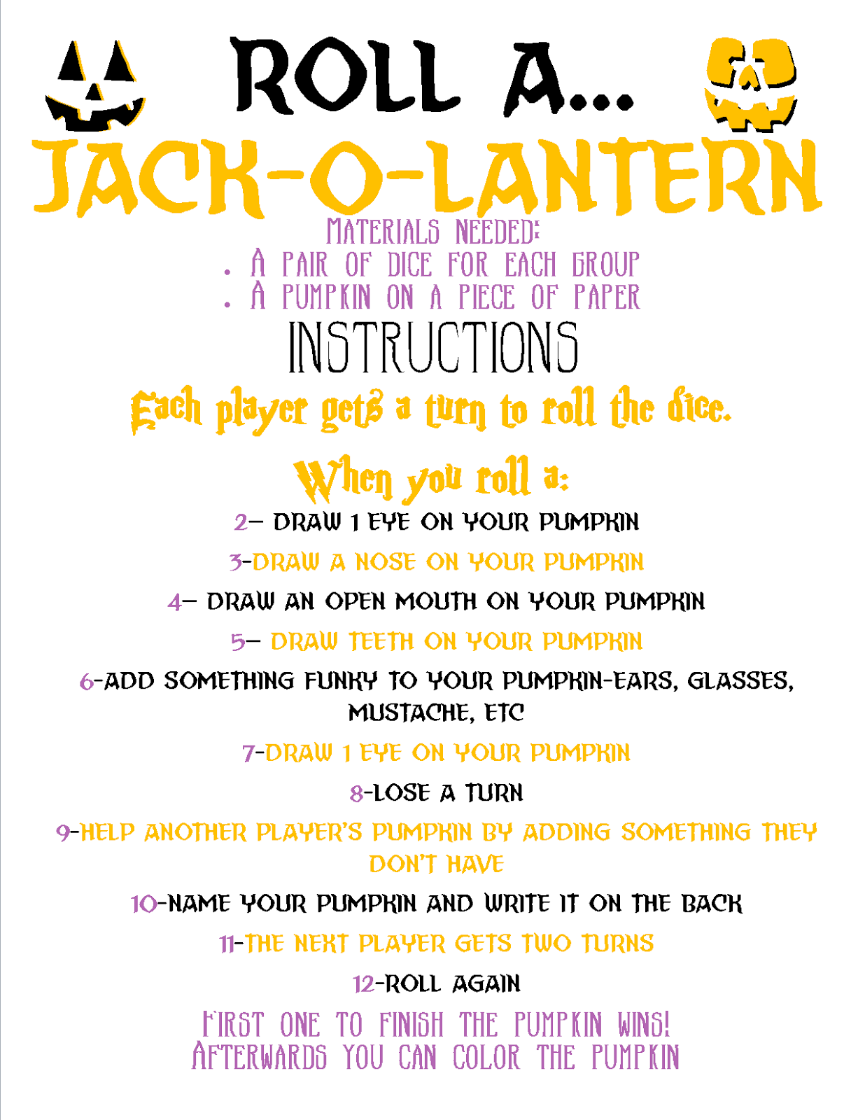 Recipes From Stephanie Roll A Jack O Lantern Game