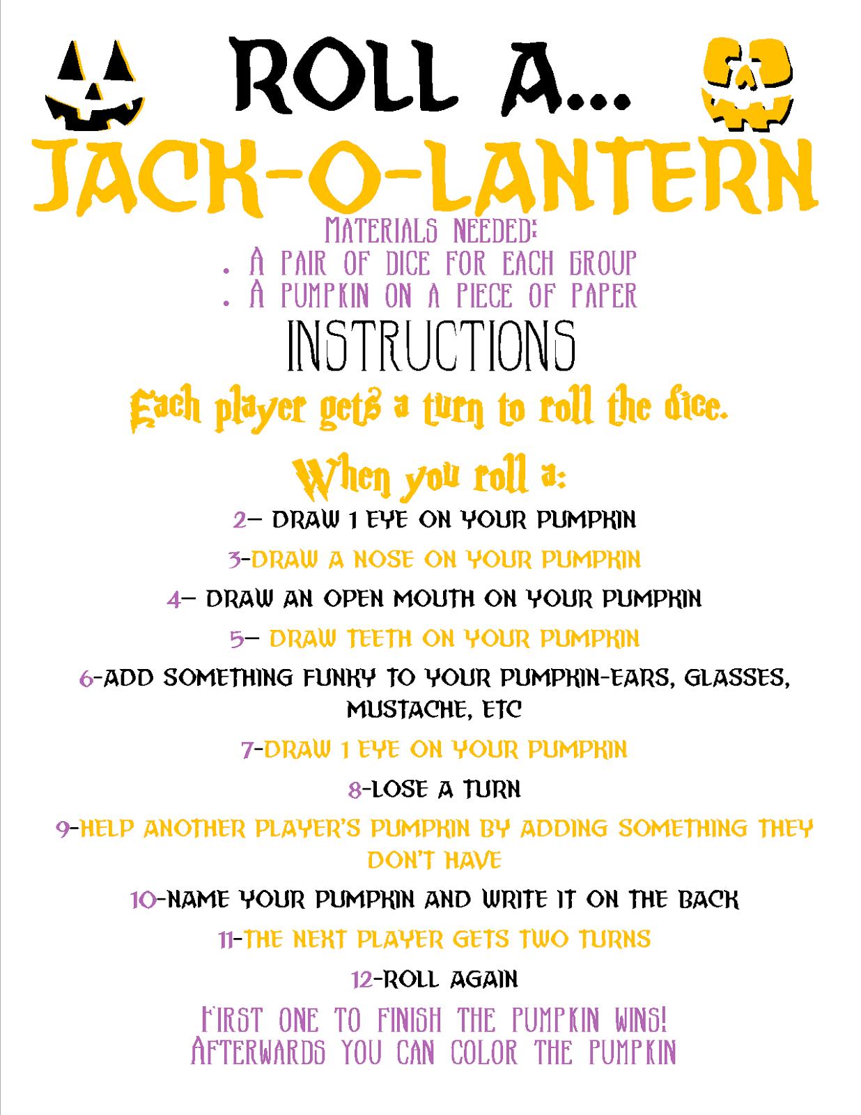 Recipes From Stephanie Roll A Jack O Lantern Game