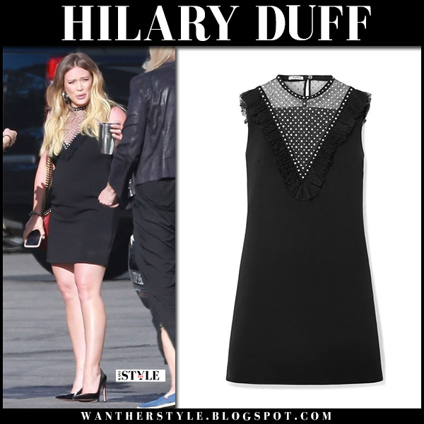Hilary Duff in black mini dress miu miu arriving at James Corden show fashion june 11