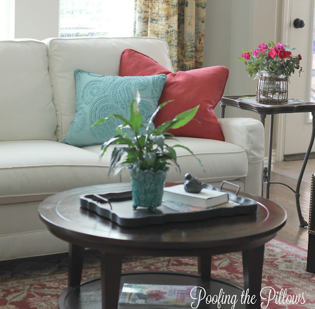 sunny summer home tour, white couch, aqua, turquoise, Pottery Barn