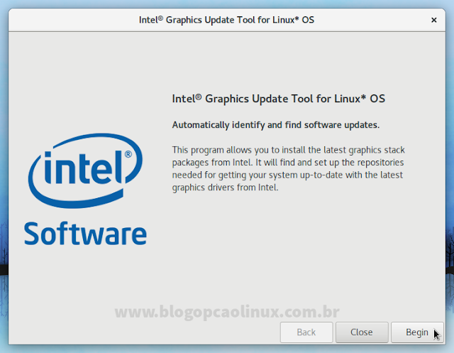 Tela inicial do Intel Graphics Update Tool for Linux* OS
