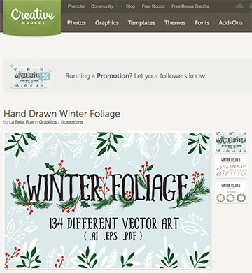 Hand drawn vector art sold on Creative Market