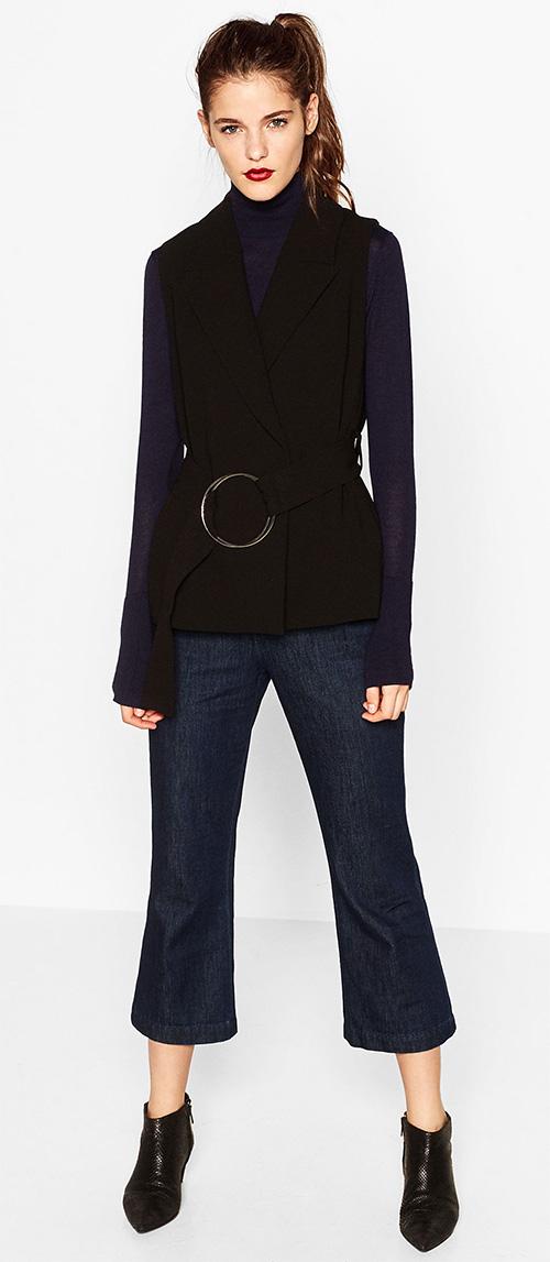 Gilet femme sans manches noir Zara