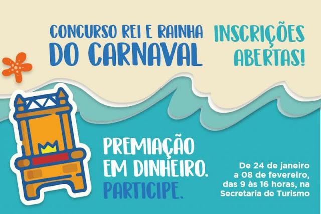 Inscrições para o concurso de Rei e Rainha do Carnaval 2019 já podem ser realizadas