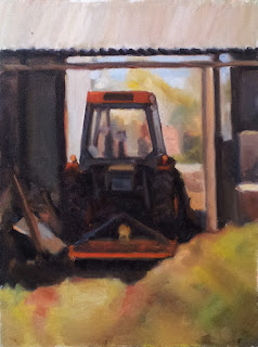 Oil painting of an orange tractor with cabin in a shed on a sunny day.