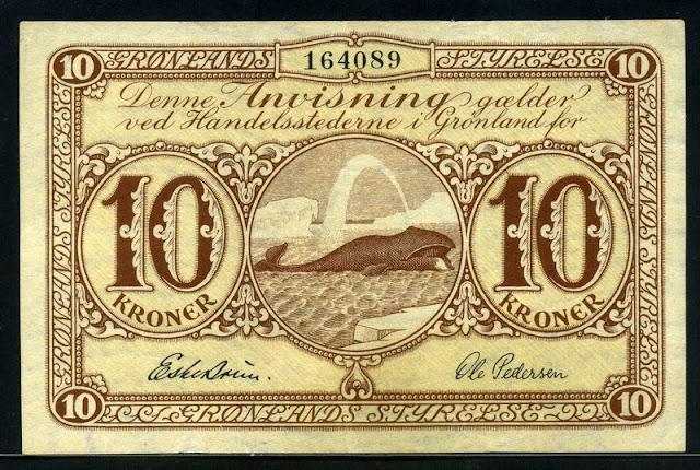 World Money Currency Greenland Krone banknote