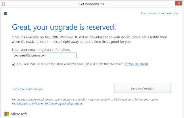 Upgrade Reserve Confirmation