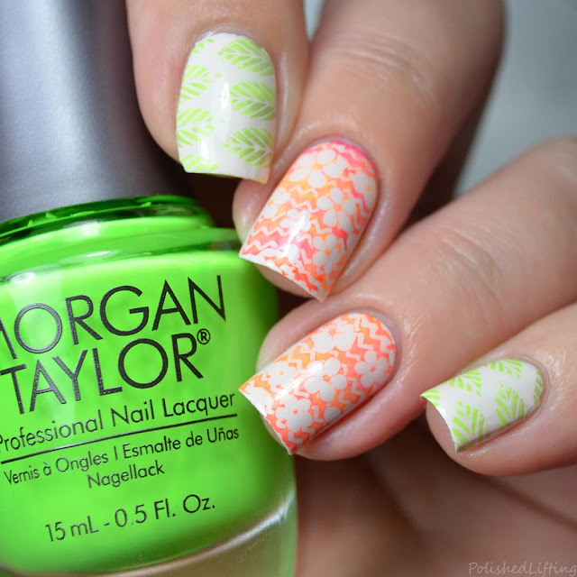 floral leaf gradient nail art