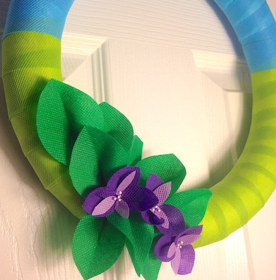 fabric wrapped spring wreath by lisa fulmer