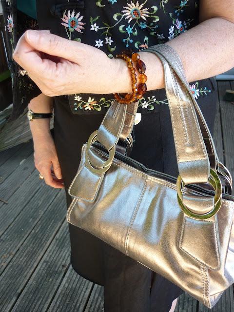 Metallic Bag & Amber Bracelets | PetiteSilverVixen