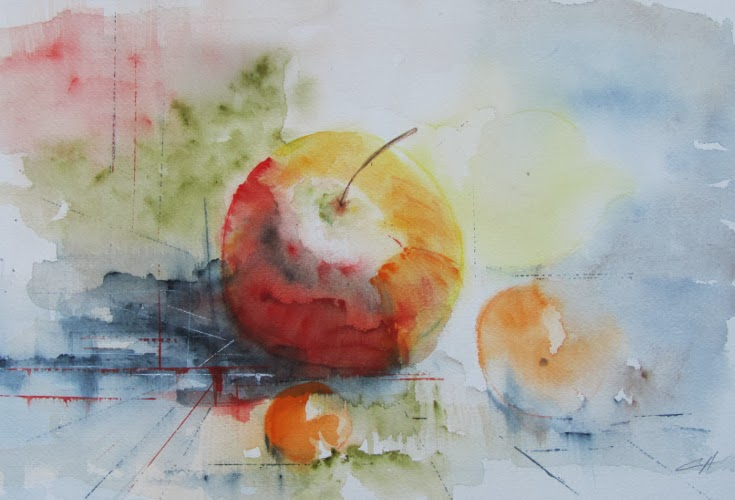 pommes, Nature morte, Aquarelle