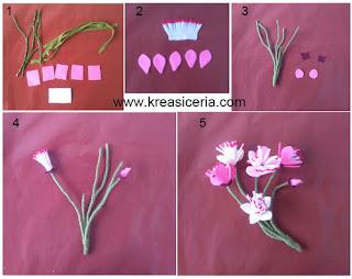 Tutorial membuat bunga sakura dari kain flanel