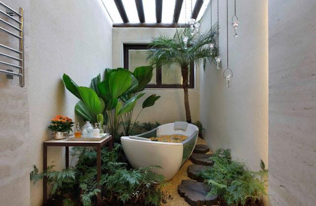 Ванна кімната у тропічному стилі
