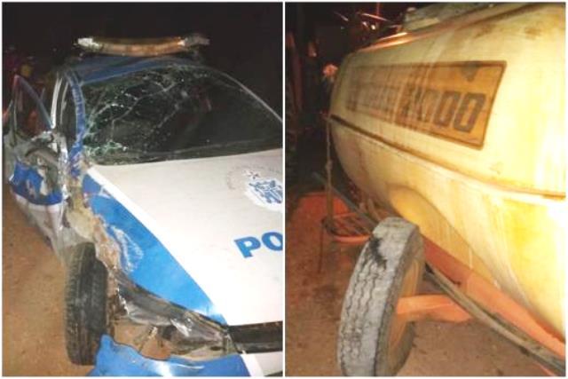 Chapada: Viatura da Polícia Civil capota após colidir contra trator, em Livramento
